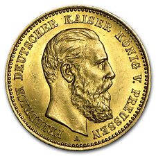 1888 Germany Gold 10 Mark Prussia Friedrich III Average Circ