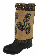 New Women Boot Cover Toppers Pair Brown Faux Leather Slip On Western Prints Lace