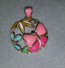 QVC sterling silver turquoise-MOP-Pink butterfly flower pendant 4 necklace SX