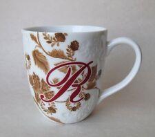 """Pier 1 Imports """"AVA""""  Monogram Letter """" R"""" Mug Embossed Floral WhIte PorcelaIn"""