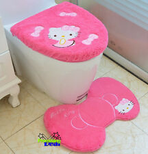 New Cute Hello Kitty Bathroom Mat Rug Toilet Seats Lid Cover Set