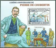 BURUNDI  2013 150th BIRTH PIERRE de  COUBERTIN OLYMPIC GAMES ORGANIZER  S/S