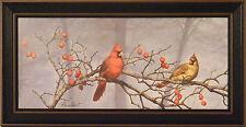 BACKYARD VISITORS by Richard Plasschaert 10x20 FRAMED PRINT Cardinals Birds