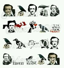 Halloween Nail Decals ( water decals) Edgar Allen Poe Nail Art