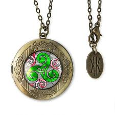 Triskelion Irish Stained Glass Celtic Triskele Antique Bronze Locket Necklace