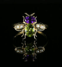 SUFFRAGETTE BEE RING - 18CT GOLD AND SILVER  - PERIDOT AMETHYST PEARL