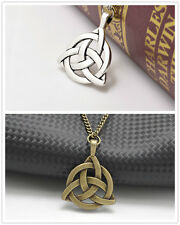Silver/Bronze Long Chain Celtic Triquetra Trinity Knot Pendant Necklace 2 Pcs