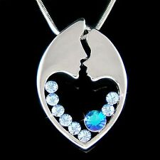 w Swarovski Crystal ~Blue MOM Mother Love Baby Child Heart Mothers Day Necklace