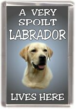 "Labrador (Yellow) Dog Fridge Magnet  ""A VERY SPOILT LABRADOR LIVES HERE"""