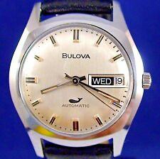 Bulova vintage 1969 Swiss automatic d/d ss watch with new matched leather strap