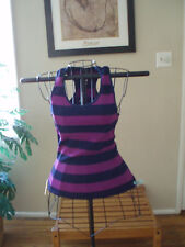 SEAMLESS PURPLE/NAVY RUGBY STRiPED RIBBED RACERBACK YOGA ZUMBA  SPORT TANK TOP