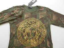 NWT Versace Men's Long Sleeve Graphic T Shirt Size Large L Camo