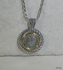 STERLING SILVER 1944 MERCURY DIME ENCASED PENDANT & 3MM ROPE CHAIN NECKLACE