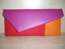 COLOUR BLOCK, ORANGE, FUCHSIA  PINK & RED clutch bag, fully lined. UK made