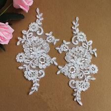Bridal Lace Applique FLOREALE CON FILO WEDDING Motif avorio Lace Applique Taglia 1 Paio