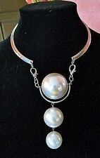 ~WOW! New Runway Designer Massive Glass Pearl Beaded Pendant Choker NECKLACE