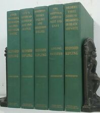1899~Antique Green 5 Book Set~Old Decorative Set~RUDYARD KIPLING~STORIES~BALLADS