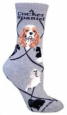 3 Cocker Spaniels Gray Dog Socks 9-12 made in the USA