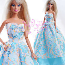 ON Sale New Light Blue EVENING SPLENDOR Dress Grown whiteLace for Barbie Doll