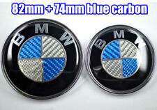 82mm+74mm BMW Blue Carbon Fibre Badge Emblem Set (front+back) e60 e61 e46 e90