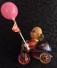 Vintage Clown on Bike Wind Up Toy Plastic, Metal Bicycle Tricycle - Works