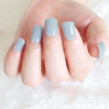24 pcs Solid Light Blue False Nails Short Cheap Full Nail Art Acrylic Tips