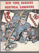 New York Rangers vs Montreal Canadians February 20 1966 Official Program