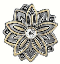 Brass White Rhinestone Flower 20mm Snap Charm Jewelry For Ginger Snaps