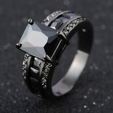 Engagement Size 10 Black Sapphire AAA Black 18K Gold Filled AAA Woman Mans Ring