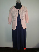 blue violet straight dress pink vintage doll cardigan