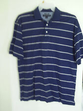 Men's Tommy Hilfiger Blue Striped Short-Sleeve Golf Polo Shirt Sz L