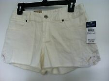 Ralph Lauren Girls Shorts~Off White Denim~Flat Front~Side Lace Inset~Sz 6~NWT