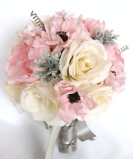 17 piece Wedding Bouquet Silk Flower Bridal Light PINK BLUSH GRAY SILVER package