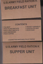 SET OF EARLY WAR WW2 US K RATION BOXES (REPRO)