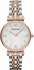 NEW EMPORIO ARMANI AR1683 LADIES TWO TONE GIANNI T-BAR WATCH - 2 YEAR WARRANTY