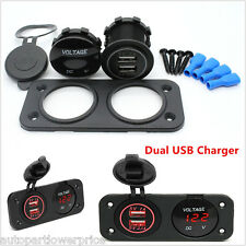 12V Dual USB Charger Socket Red LED Digital Voltmeter For Car Boat Panel Switch