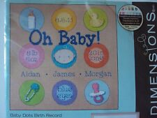 Dimensions Baby Dots Birth Record Counted Cross Stitch Kit Boy or Girl