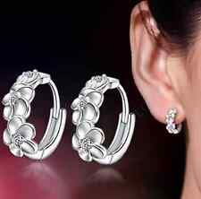 Women Lady Silver Plated Crystal Rhinestone Flower Ear Stud Earrings Hoop