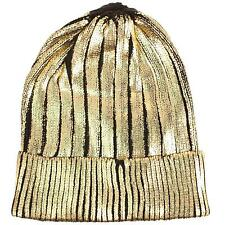 Winter Metallic Shiny Chunky Thick Knit Party Beanie Skull Ski Hat Cap Gold