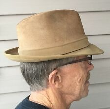 Vintage RESISTOL Suede FEDORA HAT #F77 with Feathers  7 1/8 Taupe + HatBox