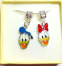 Donald & Daisy Duck Charm Necklace in Gift Box with Bag Birthday Christmas Gift