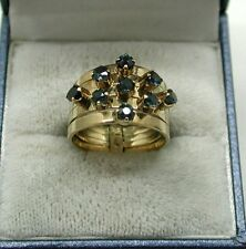 Vintage Unusual 14ct Gold Sapphire & Blue Topaz Five Banded Ring