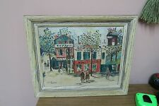 """Vintage Oil on Board City Scene Painting Signed 11"""" x 14"""" - 15"""" x 17"""" Framed"""