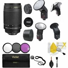 Nikon Nikkor 70-300mm F/4-5.6 G + PRO SWIVEL BOUNCE LED FLASH + FILTERS KIT +KIT