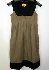 Cue Size 6 Brown & Black Cotton Blend Pinafore Dress