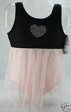 Freestyle Danskin Black & Pink Sleeveless Leotard w/attached Skirt Small 6/6X
