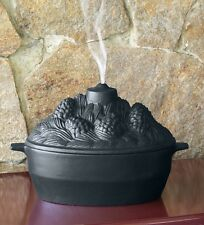 Cast Iron Pine Cone Candle Design Wood Stove Steamer Kettle / Humidifier, Black