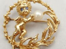 Vintage 14K Solid Yellow Gold Pearl Pin/Brooch Cherub Angel Wreath William Ruser