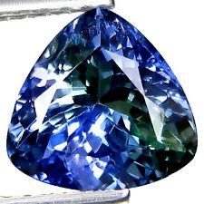 "1.97~carat ""TRILLION CUT"" Breath Taking BLUE GREEN TANZANITE Loose Gemstone"