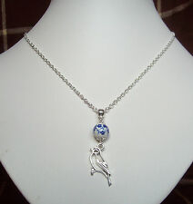 "Pretty Bird Charm Blue and White Flower Bead Pendant 18"" Chain Necklace"